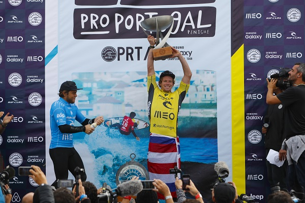 John John Florence celebrating his World Title  Victory during prizegiving  of the Rip Curl Pro Portugal.